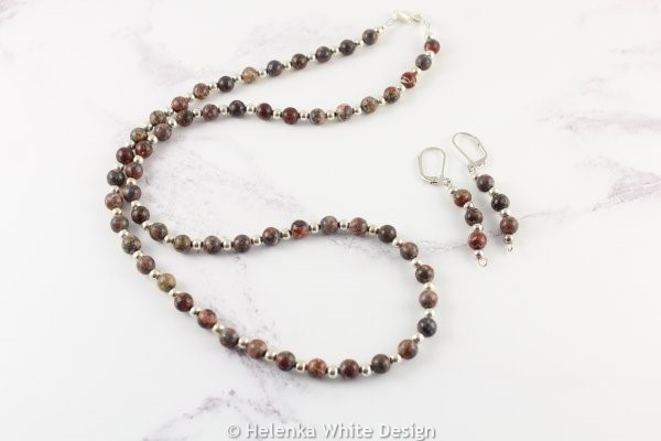 Leopardskin Jasper necklace with matching earrings.