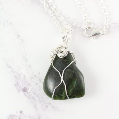 Nephrite Jade pendant - wire wrapped
