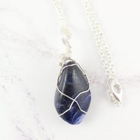Sodalite pendant - wire wrapped