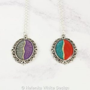 Cameo style painted pendants moonstone/purple and green/red