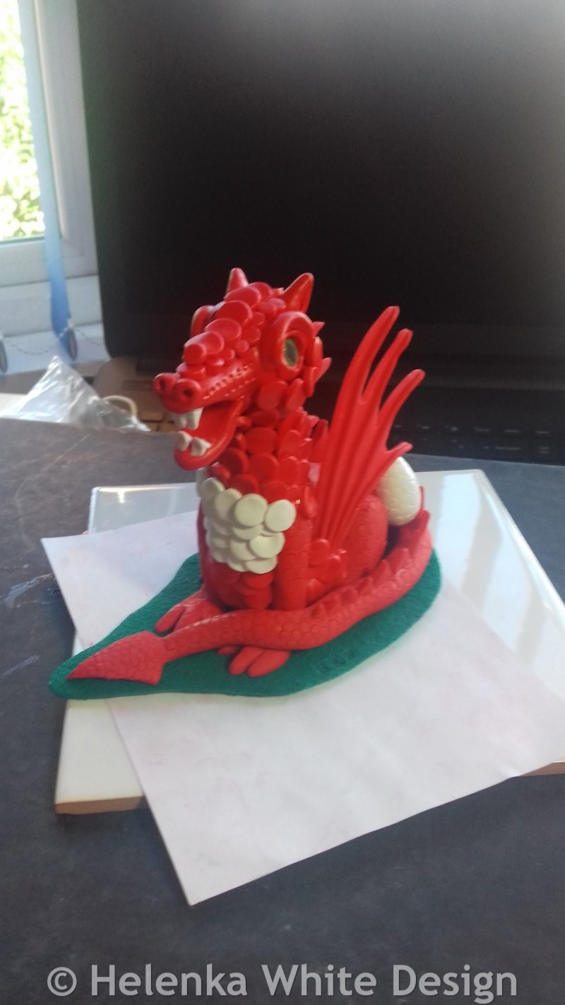 Dragon with dragon head and scales before the final bake.