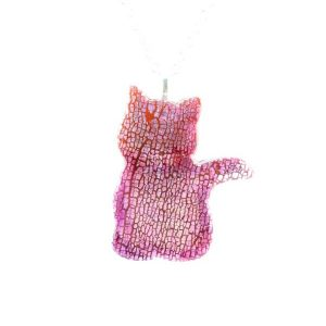 Faux dichroic big sitting cat pendant,