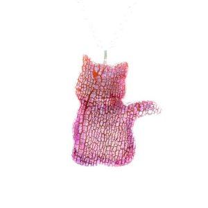 Faux dichroic big sitting cat pendant,