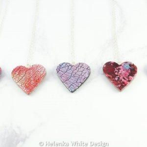 Faux dichroic heart pendants in various colours