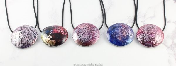 Faux dichroic round pendants in various colours.