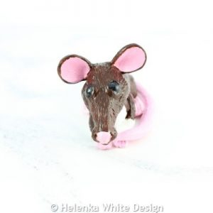 Rat sculpture handcrafted with polymer clay - front