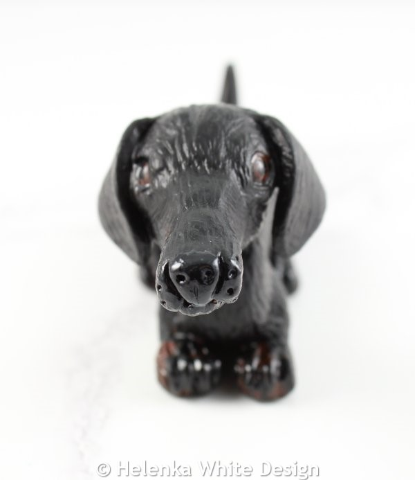 Black dachshund sculpture