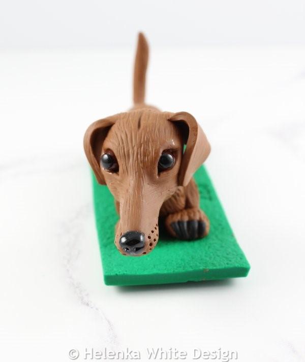 Brown dachshund sculpture